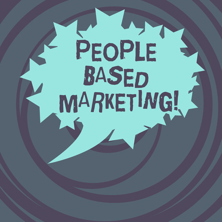 Word writing text People Based Marketing. Business concept for Marketing centered around the individual consumer Blank Oval Color Speech Bubble with Stars as Outline photo Text Space Stok Fotoğraf