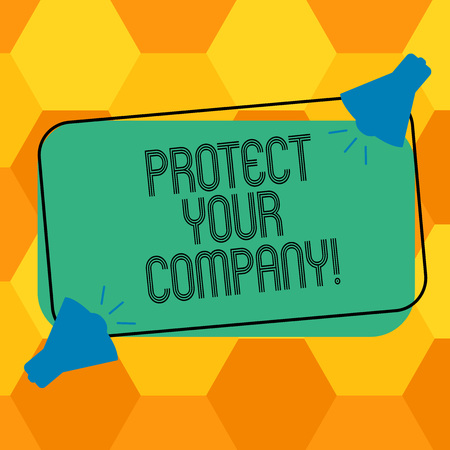 Handwriting text writing Protect Your Company. Concept meaning maintaining a positive reputation of the company Two Megaphone with Sound icon on Blank Color Outlined Rectangular Shape