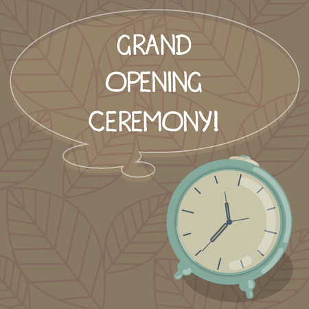 Writing note showing Grand Opening Ceremony. Business photo showcasing mark the opening of a new business or public place Blank Color Thought Speech Bubble with Outline and Alarm Clock photo