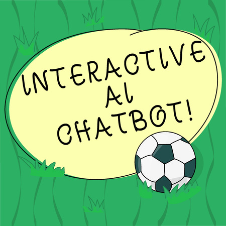 Word writing text Interactive Ai Chatbot. Business concept for computer program that simulates huanalysis conversation Soccer Ball on the Grass and Blank Outlined Round Color Shape photo Banco de Imagens