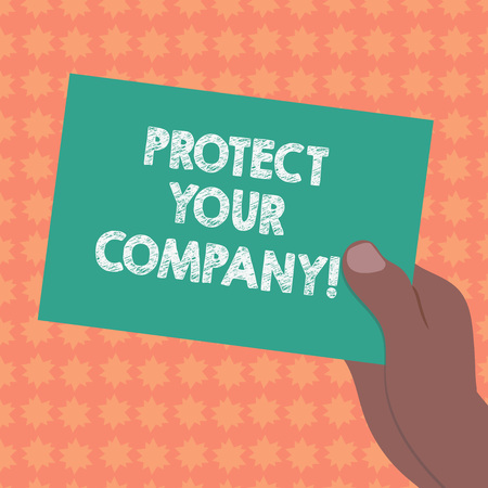Writing note showing Protect Your Company. Business photo showcasing maintaining a positive reputation of the company Drawn Hu analysis Hand Holding Blank Color Paper Cardboard Stock Photo