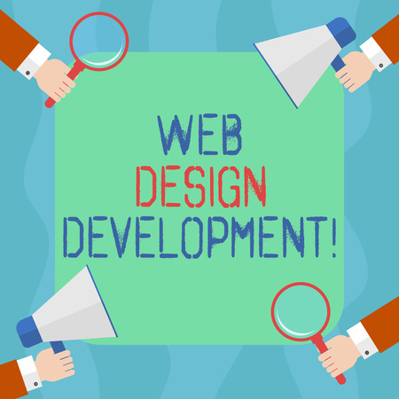 Conceptual hand writing showing Web Design Development. Business photo text developing websites for hosting via intranet Hu analysis Hands Holding Magnifying Glass and Megaphone Stock Photo
