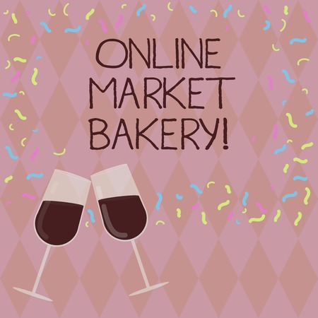 Writing note showing Online Market Bakery. Business photo showcasing Produces and sells flourbased food baked in oven Filled Wine Glass for Celebration with Scattered Confetti photo