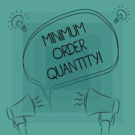 Conceptual hand writing showing Minimum Order Quantity. Business photo text lowest quantity of a product a supplier can sell Freehand Outline Sketch of Speech Bubble Megaphone Idea Icon Banco de Imagens