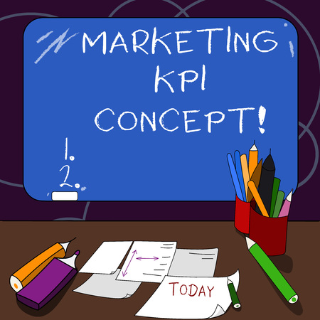 Handwriting text Marketing Kpi Concept. Concept meaning measure efficiency of campaigns in marketing channels Mounted Blank Color Blackboard with Chalk and Writing Tools Sheets on Desk Banco de Imagens - 115848590