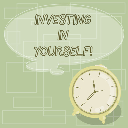 Text sign showing Investing In Yourself. Conceptual photo Learning new skill Developing yourself professionally Blank Color Thought Speech Bubble with Outline and Alarm Clock photo Stock fotó