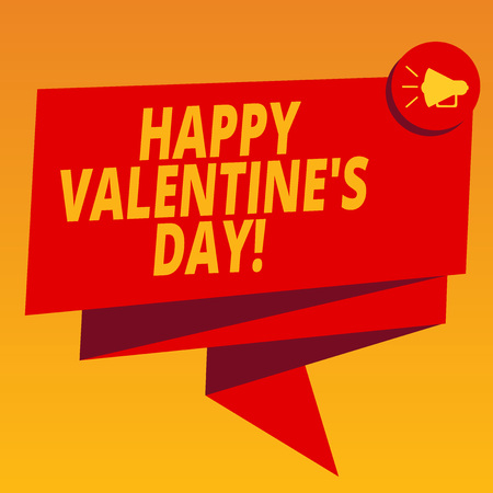 Handwriting text Happy Valentine S Is Day. Concept meaning when lovers express their affection with greetings Folded 3D Ribbon Sash Megaphone Speech Bubble photo for Celebration Stock fotó