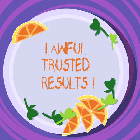 Conceptual hand writing showing Lawful Trusted Results. Business photo text Closing deal secure by legal contracts and agreement Cutouts of Sliced Lime Wedge and Herb Leaves on Color Plate