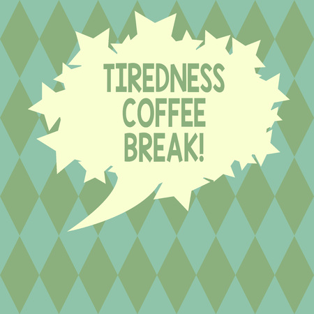Handwriting text writing Tiredness Coffee Break. Concept meaning short period for rest and refreshments to freshen up Blank Oval Color Speech Bubble with Stars as Outline photo Text Space Stockfoto