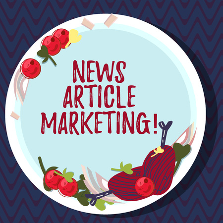 Text sign showing News Article Marketing. Conceptual photo Write and issue short articles to a range of outlets Hand Drawn Lamb Chops Herb Spice Cherry Tomatoes on Blank Color Plate
