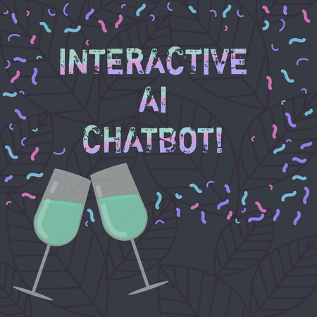 Conceptual hand writing showing Interactive Ai Chatbot. Business photo text computer program that simulates huanalysis conversation Filled Wine Glass for Celebration with Scattered Confetti photo