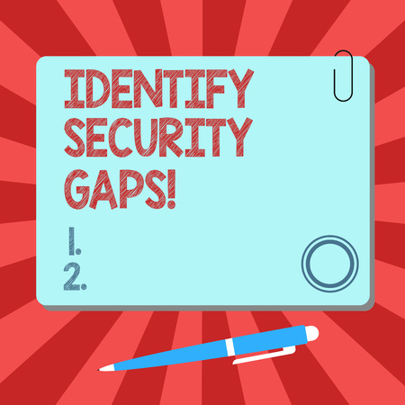 Handwriting text Identify Security Gaps. Concept meaning determine whether the controls in place are enough Blank Square Color Board with Magnet Click Ballpoint Pen Pushpin and Clip