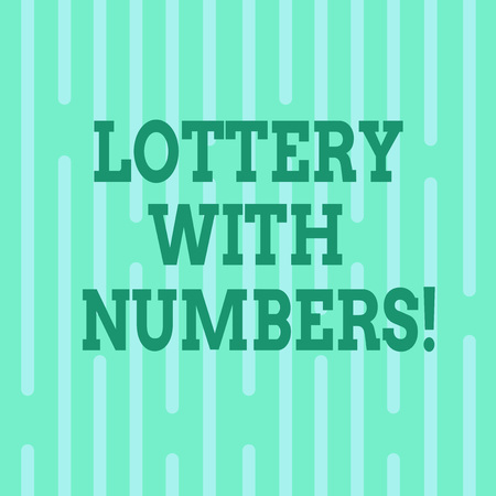 Conceptual hand writing showing Lottery With Numbers. Business photo text game of chance in which showing buy numbered tickets Vertical Thin Linear Strip Broken Rod in Seamless Repeat Pattern Banque d'images