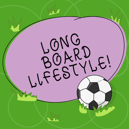 Word writing text Long Board Lifestyle. Business concept for Getting hooked with a longboard sports equipment Soccer Ball on the Grass and Blank Outlined Round Color Shape photo