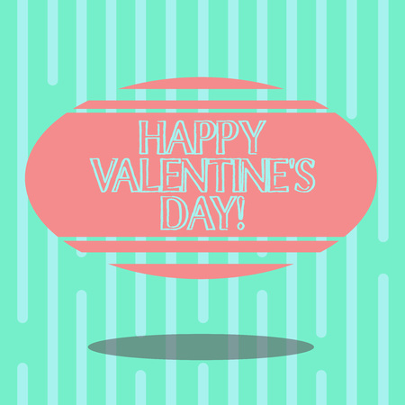 Word writing text Happy Valentine S Is Day. Business concept for when lovers express their affection with greetings Blank Color Oval Shape with Horizontal Stripe Floating and Shadow photo
