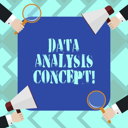 Text sign showing Data Analysis Process. Conceptual photo the procedures or techniques in analyzing the data Hu analysis Hands Each Holding Magnifying Glass and Megaphone on 4 Corners Фото со стока