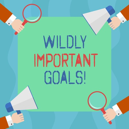Conceptual hand writing showing Wildly Important Goals. Business photo text most important objective that needs special attention Hu analysis Hands Holding Magnifying Glass and Megaphone