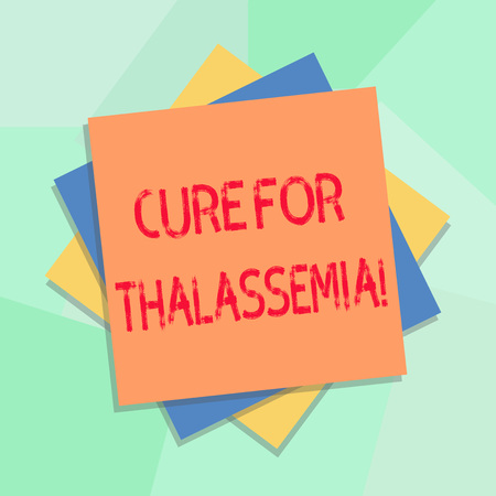 Conceptual hand writing showing Cure For Thalassemia. Business photo showcasing Treatment needed for this inherited blood disorder Multiple Layer of Sheets Color Paper Cardboard with Shadow Foto de archivo - 115861085