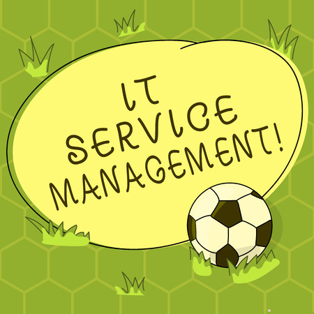 Conceptual hand writing showing It Service Management. Business photo showcasing the process of aligning enterprise IT services Soccer Ball on the Grass and Blank Round Color Shape photo