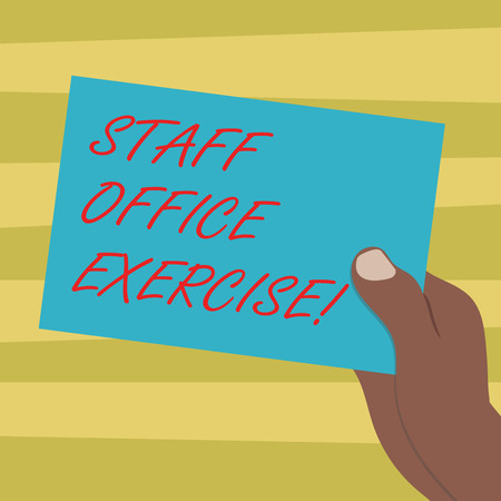 Text sign showing Staff Office Exercise. Conceptual photo Promoting physical fitness routine for office staff Drawn Hu analysis Hand Holding Presenting Blank Color Paper Cardboard photo