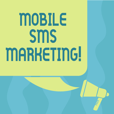 Conceptual hand writing showing Mobile Sms Marketing. Business photo showcasing campaign that interact with your customers via text Color Silhouette of Blank Square Speech Bubble and Megaphone