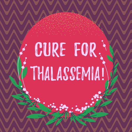 Word writing text Cure For Thalassemia. Business concept for Treatment needed for this inherited blood disorder Blank Color Oval Shape with Leaves and Buds as Border for Invitation Foto de archivo - 115861479