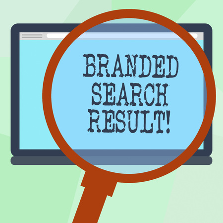 Conceptual hand writing showing Branded Search Result. Business photo text Query via a search engine that includes the brand Magnifying Glass Enlarging Tablet Color Screen text Space