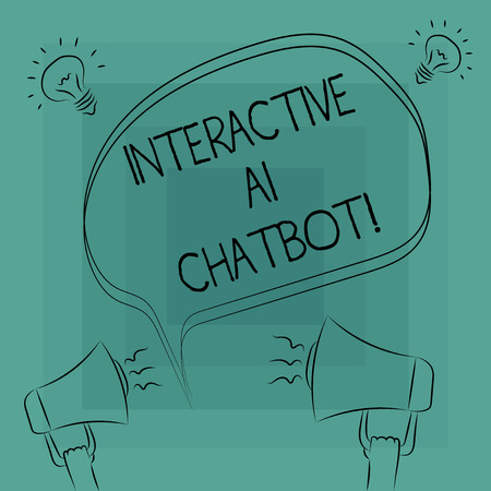 Conceptual hand writing showing Interactive Ai Chatbot. Business photo text computer program that simulates huanalysis conversation Freehand Outline Sketch of Speech Bubble Megaphone Idea Icon Banco de Imagens