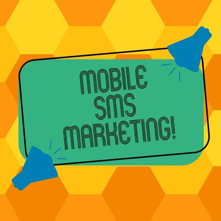 Handwriting text writing Mobile Sms Marketing. Concept meaning campaign that interact with your customers via text Two Megaphone with Sound icon on Blank Color Outlined Rectangular Shape