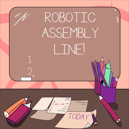 Writing note showing Robotic Assembly Line. Business photo showcasing use to increase production speed and consistency Mounted Blackboard with Chalk Writing Tools Sheets on Desk Archivio Fotografico