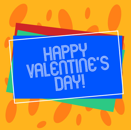 Conceptual hand writing showing Happy Valentine S Is Day. Business photo showcasing when lovers express their affection with greetings Pile of Rectangular Outlined Different Color Construct Paper