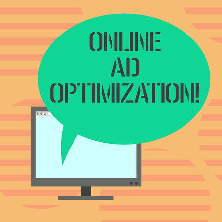 Word writing text Online Ad Optimization. Business concept for Improving the perforanalysisce of a text PPC advertisement Mounted Computer Monitor Blank Screen with Oval Color Speech Bubble
