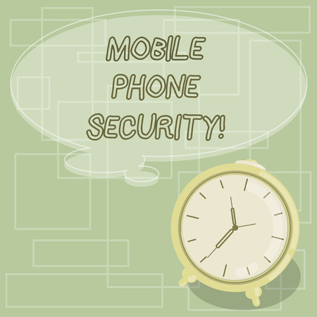 Text sign showing Mobile Phone Security. Conceptual photo secure data on mobile devices Wireless security Blank Color Thought Speech Bubble with Outline and Alarm Clock photo