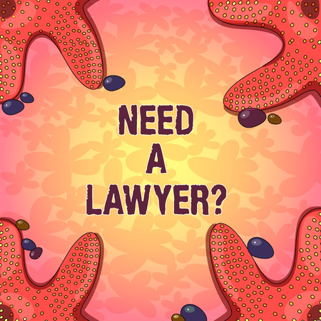 Word writing text Need A Lawyerquestion. Business concept for Looking for legal advice or preparing legal documents Starfish photo on Four Corners with Colorful Pebbles for Poster Ads Cards