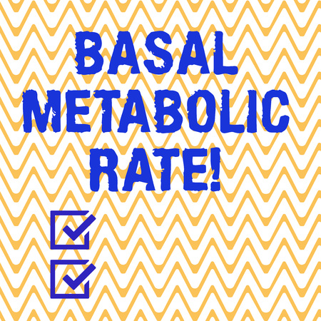 Conceptual hand writing showing Basal Metabolic Rate. Business photo text Minimum energy level require to sustain vital function Horizontal Zigzag Wavy Parallel Line in Seamless Repeat Pattern