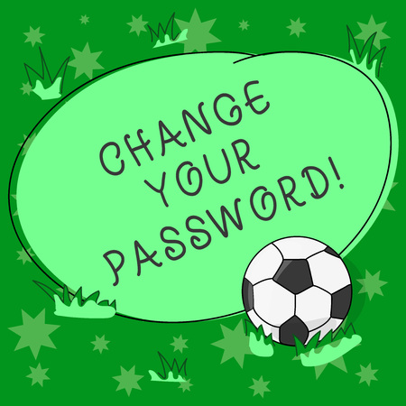 Writing note showing Change Your Password. Business photo showcasing Resetting the password to prevent from hacking Soccer Ball on the Grass and Blank Outlined Round Color Shape photo Banco de Imagens