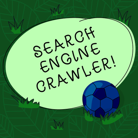 Handwriting text Search Engine Crawler. Concept meaning program or automated script that browses the web Soccer Ball on the Grass and Blank Outlined Round Color Shape photo Stock Photo
