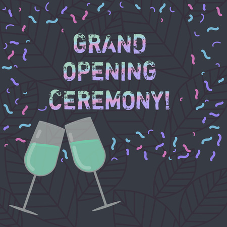 Conceptual hand writing showing Grand Opening Ceremony. Business photo text mark the opening of a new business or public place Filled Wine Glass for Celebration with Scattered Confetti photo 版權商用圖片