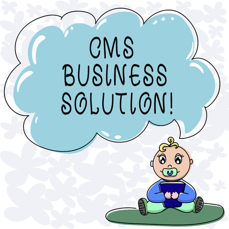Conceptual hand writing showing Cms Business Solution. Business photo text software application use to create and analysisage website Baby Sitting on Rug with Pacifier Book and Cloud Speech Bubble
