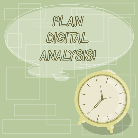 Text sign showing Plan Digital Analysis. Conceptual photo Analysis of qualitative and quantitative digital data Blank Color Thought Speech Bubble with Outline and Alarm Clock photo Stock fotó
