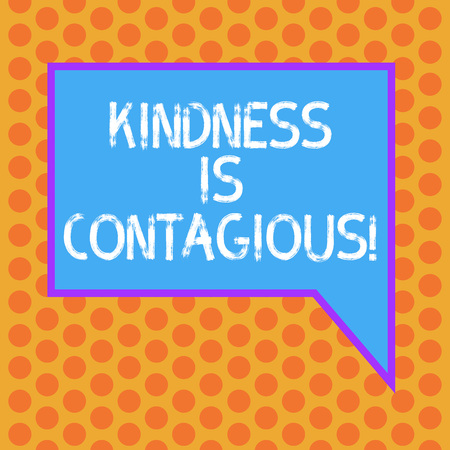 Writing note showing Kindness Is Contagious. Business photo showcasing it ignites the desire to reciprocate and pass it on Blank Rectangular Color Speech Bubble with Border photo Right Hand Stock Photo