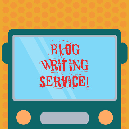 Writing note showing Blog Writing Service. Business photo showcasing Creates highquality blog content for a business Drawn Flat Front View of Bus with Blank Color Window Shield Reflecting