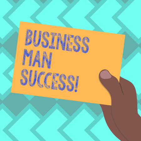 Text sign showing Business Man Success. Conceptual photo Someone achieves what it was intended to achieve Drawn Hu analysis Hand Holding Presenting Blank Color Paper Cardboard photo