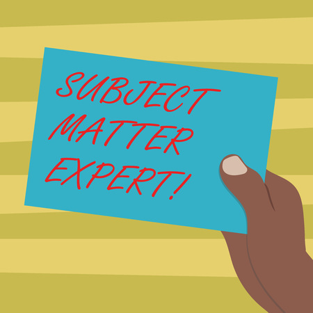 Text sign showing Subject Matter Expert. Conceptual photo Person who is an authority in a particular area Drawn Hu analysis Hand Holding Presenting Blank Color Paper Cardboard photo Banco de Imagens