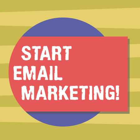 Text sign showing Start Email Marketing. Conceptual photo Use of email to promote products andoror services Blank Rectangular Color Shape with Shadow Coming Out from a Circle photo