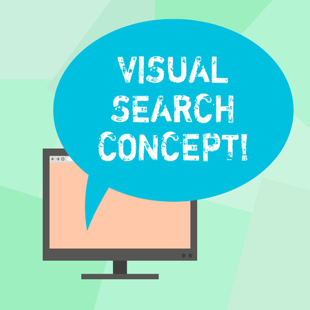 Conceptual hand writing showing Visual Search Concept. Business photo text perceptual task requiring attention for an object Mounted Computer Blank Screen with Oval Color Speech Bubble