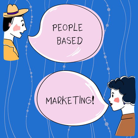 Word writing text People Based Marketing. Business concept for Marketing centered around the individual consumer Hand Drawn Man and Wo analysis Talking photo with Blank Color Speech Bubble Stok Fotoğraf