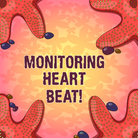Word writing text Monitoring Heart Beat. Business concept for Measure or record the heart rate in real time Starfish photo on Four Corners with Colorful Pebbles for Poster Ads Cards