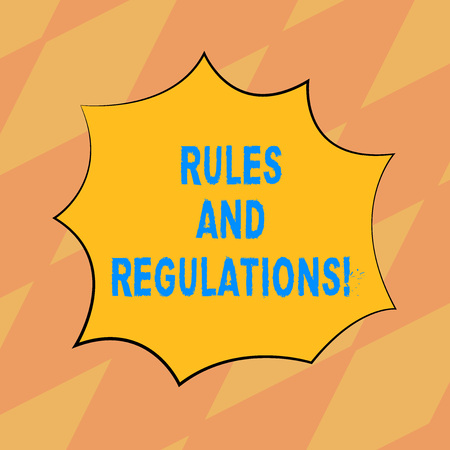 Text sign showing Rules And Regulations. Conceptual photo guidelines to follow when entering into a transaction Blank Color Explosion Blast Scream Speech Bubble photo for Promotion Ads