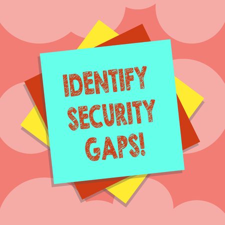 Writing note showing Identify Security Gaps. Business photo showcasing determine whether the controls in place are enough Multiple Layer of Sheets Color Paper Cardboard with Shadow Imagens